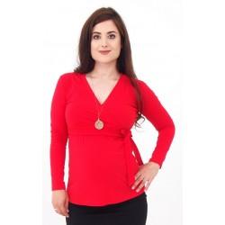 Tehotenské tričko s viazaním - červené