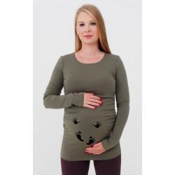 Tehotenské tričko s potlačou - khaki