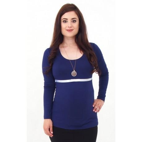 Tehotenské tričko so stuhou - tmavomodré