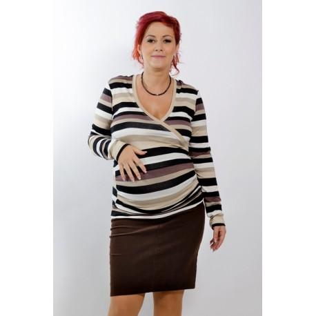 Tehotenská menžestrová sukňa Dina tmavohnedá