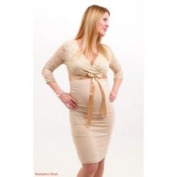 Tehotenské šaty s čipkou - béžové