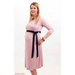 Púdrové tehotenské šaty s čipkou