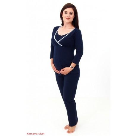 Pyžamo pre tehotné a dojčiace ženy - tmavomodré