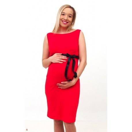 Tehotenské šaty bez rukávov - červené