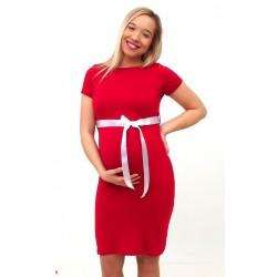 Tehotenské šaty s krátkym rukávom - bordové