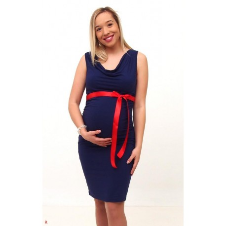 Tehotenské šaty bez rukávov - tmavomodré