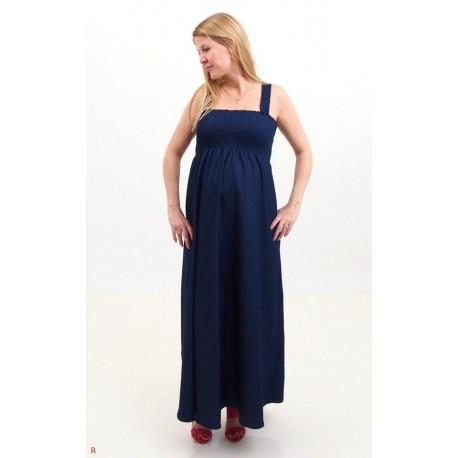 Tehotenské maxi šaty - riflové