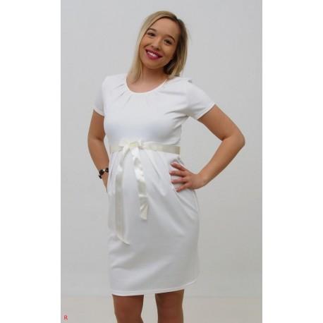 Tehotenské svadobné šaty - biele
