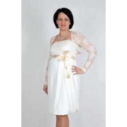 Tehotenské svadobné šaty s bolerkou