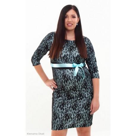 Čipkované tehotenské šaty čierno-tyrkysové