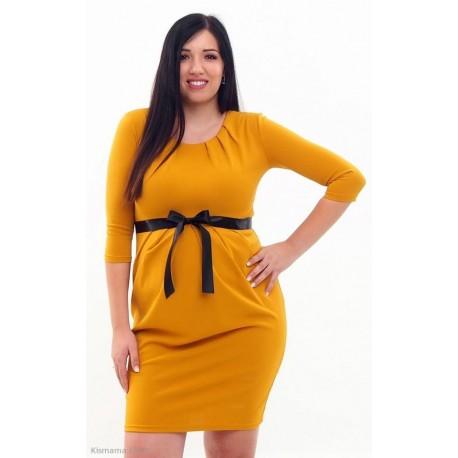 Tehotenské šaty horčicové