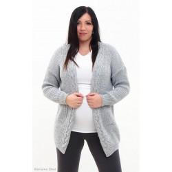 Tehotenský kardigan - šedý