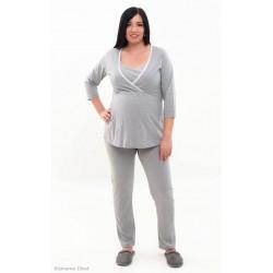 Pyžamo pre tehotné a dojčiace ženy - svetlošedé