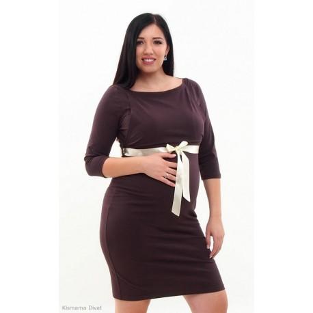 Elegantné šaty s 3/4 rukávom - tmavohnedé
