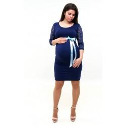 Tehotenské šaty s čipkou tmavomodré