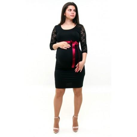 Tehotenské šaty s čipkou čierne