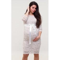 Čipkované tehotenské šaty ecru/svetlohnedé