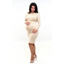 Tehotenské šaty s bolerkom - béžové