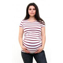 Tehotenské tričko pásikavé bielo-červené