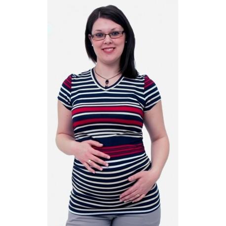 Pásikavé tehotenské tričko s výstrihom do V