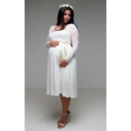 Tehotenské svadobné šaty s bolerkom - ecru