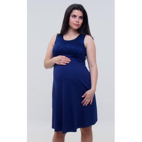 Tehotenské šaty s čipkou - tmavomodré