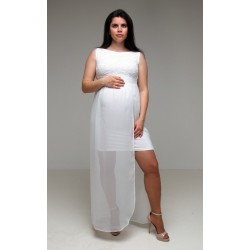 Tehotenské svadobné šaty - mušelinové