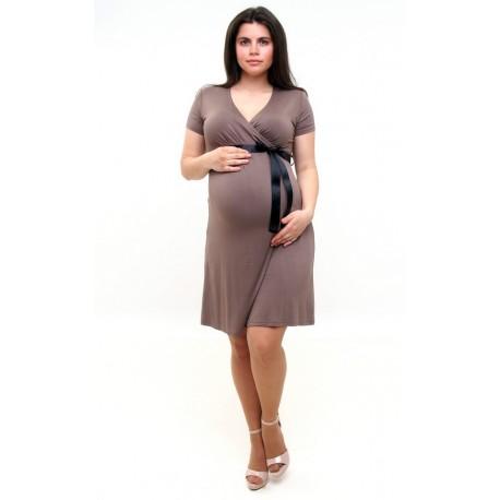 Tehotenské šaty Vanda - hnedé