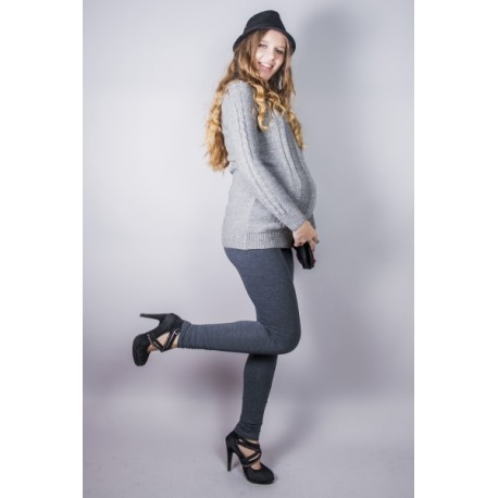 Tehotenské nohavice slim - šedé