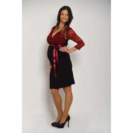 Tehotenské šaty s čipkou - čierne/bordové