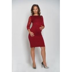 Tehotenské šaty s čipkou - malinové