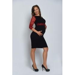 Tehotenské šaty s čipkou - čierne
