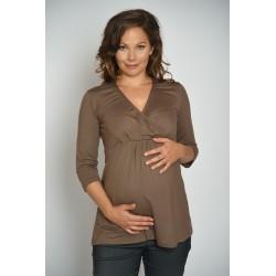 Tehotenské tričko - hnedé