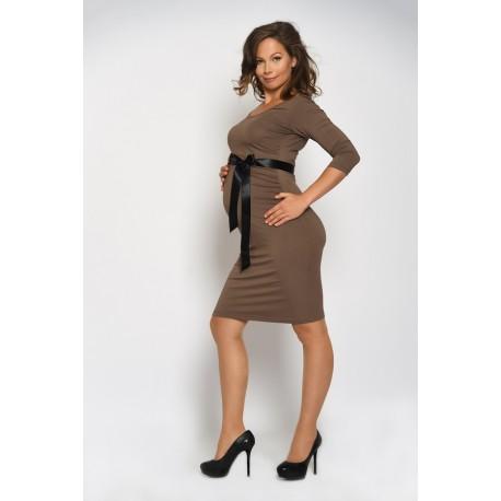 Tehotenské šaty - hnedé