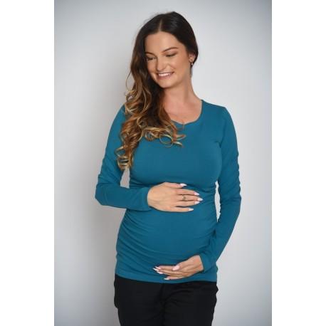 Tehotenské tričko - tmavo-tyrkysové