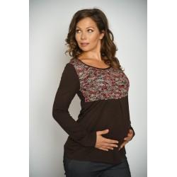 Tehotenské tričko - tmavohnedé