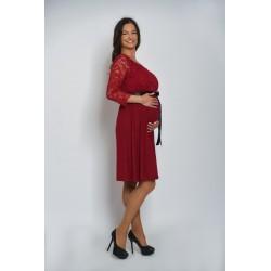Tehotenské šaty - malinové