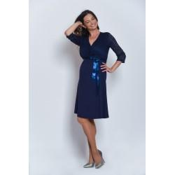 Tehotenské šaty s čipkou Vanda - tmavomodré