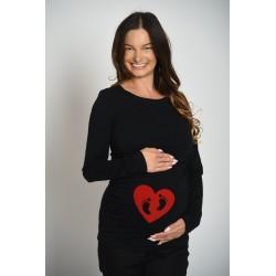 Tehotenské tričko s potlačou - čierne