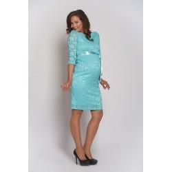 Čipkované tehotenské šaty - mentolové