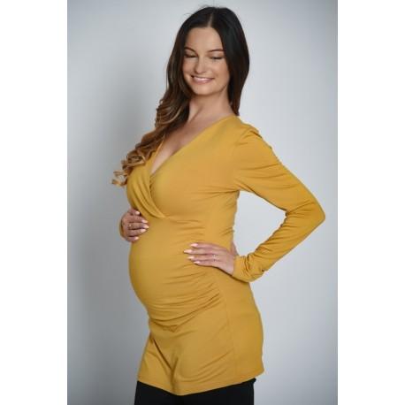 Tehotenská tunika - horčicová