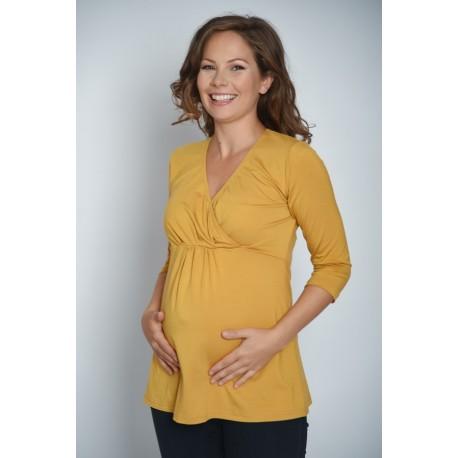 Tehotenské tričko Vanda - horčicové