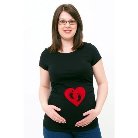Tehotenské tričko s potlačou srdiečko