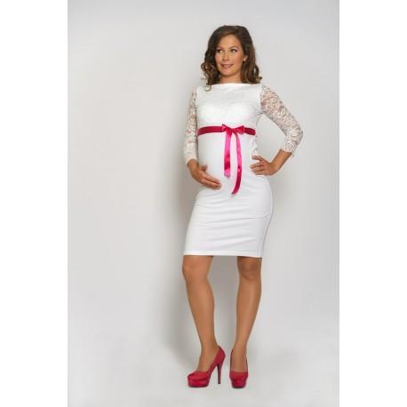 Tehotenské svadobné šaty Silvia - biele