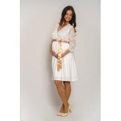 Tehotenské svadobné šaty Vanda - biele