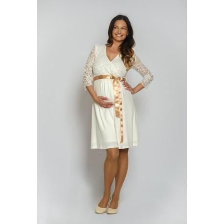 Tehotenské svadobné šaty Vanda - ecru