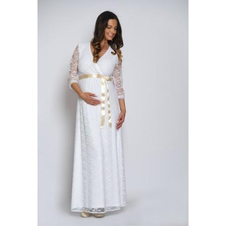 Dlhé čipkované svadobné šaty - biele