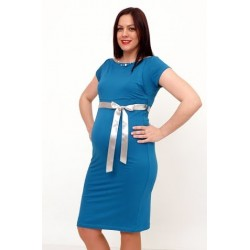 Tehotenské šaty tyrkys