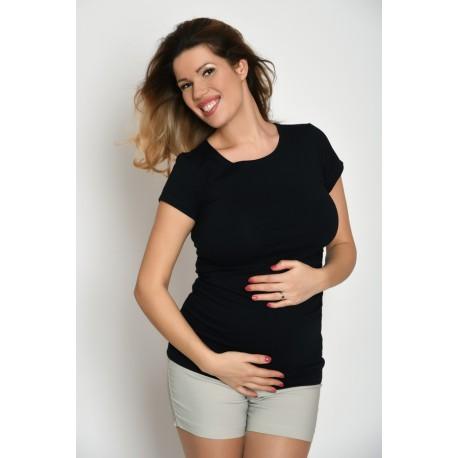 Tehotenské tričko s krátkym rukávom - čierne