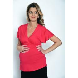 Tričko s krátkym motýľovým rukávom-pink